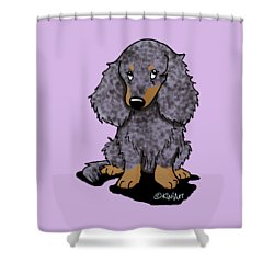 Dapple Doxie Shower Curtain by Kim Niles