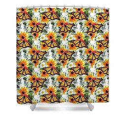 Shower Curtain featuring the mixed media Butterfly Pattern by Christina Rollo