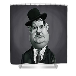 Celebrity Sunday - Oliver Hardy Shower Curtain by Rob Snow