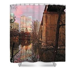 Austin Hike And Bike Trail - Train Trestle 1 Sunset Triptych Middle Shower Curtain