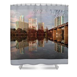 Austin Hike And Bike Trail - Train Trestle 1 Sunset Triptych Left Shower Curtain