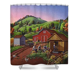Folk Art Americana - Farmers Shucking Harvesting Corn Farm Landscape - Autumn Rural Country Harvest  Shower Curtain