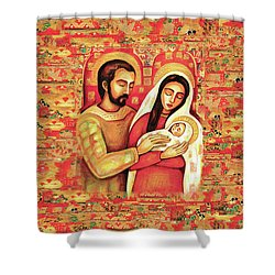 Shower Curtain featuring the painting Holy Family by Eva Campbell
