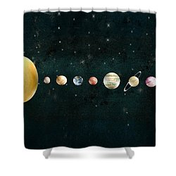 Shower Curtain featuring the painting The Solar System by Bri B