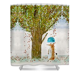 Shower Curtain featuring the painting An Autumns Day by Bri B