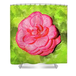Shower Curtain featuring the mixed media Winter's Rose - The Camellia by Mark Tisdale