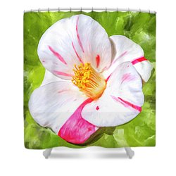 Shower Curtain featuring the mixed media In The Winter Garden - Camellia Blossom by Mark Tisdale