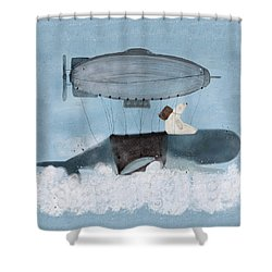 Shower Curtain featuring the painting Barney And The Whale by Bri B