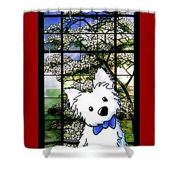 Westie At Dogwood Window Shower Curtain