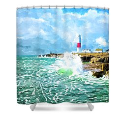 Shower Curtain featuring the mixed media Clearing Storm - Portland Bill Lighthouse by Mark Tisdale