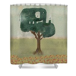 Shower Curtain featuring the painting The Elephant Tree by Bri B