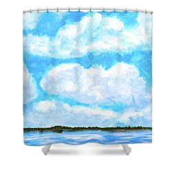 Shower Curtain featuring the mixed media Lakeside Blue - Georgia Abstract Landscape by Mark Tisdale