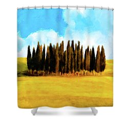 Shower Curtain featuring the mixed media Golden Tuscan Landscape Artwork by Mark Tisdale