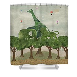 Shower Curtain featuring the painting Safari Wood by Bri B