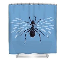 Abstract Winged Ant Shower Curtain by Boriana Giormova