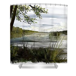Quiet Day By Lake Shower Curtain