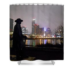 Austin Hike And Bike Trail - Iconic Austin Statue Stevie Ray Vaughn - One Shower Curtain
