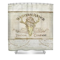 Shower Curtain featuring the painting Western Range 3 Old West Deer Skull Wooden Sign Trading Company by Audrey Jeanne Roberts