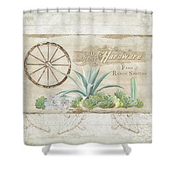 Shower Curtain featuring the painting Western Range 4 Old West Desert Cactus Farm Ranch  Wooden Sign Hardware by Audrey Jeanne Roberts