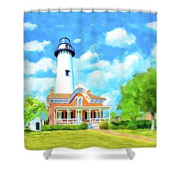 Shower Curtain featuring the painting Fair Weather On St Simons Island - Georgia Lighthouses by Mark Tisdale