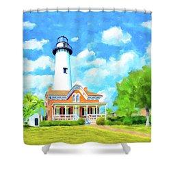 Fair Weather On St Simons Island - Georgia Lighthouses Shower Curtain by Mark Tisdale