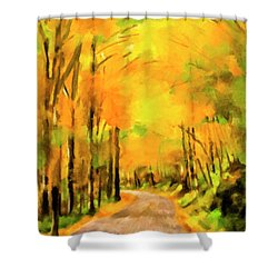 Shower Curtain featuring the painting Golden Miles - Ode To Appalachia by Mark Tisdale