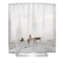 Shower Curtain featuring the painting You Are Not Alone by Bri B