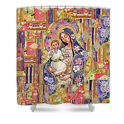 Shower Curtain featuring the painting Panagia Eleousa by Eva Campbell