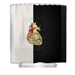 Shower Curtain featuring the digital art Dualities - Half-gold Human Heart On Black And White Canvas by Serge Averbukh