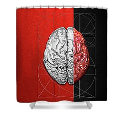 Shower Curtain featuring the digital art Dualities - Half-silver Human Brain On Red And Black Canvas by Serge Averbukh