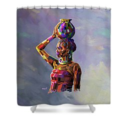 Girl Carrying Water Shower Curtain by Anthony Mwangi