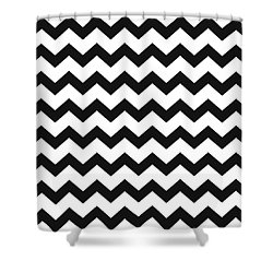 Shower Curtain featuring the mixed media Black White Geometric Pattern by Christina Rollo