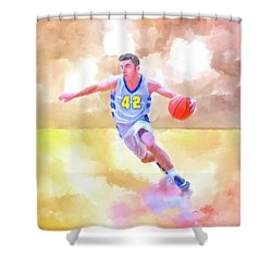 Shower Curtain featuring the painting The Art Of Basketball by Mark Tisdale