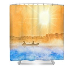 Shower Curtain featuring the painting Quiet Moments - Fishing At Dawn by Mark Tisdale