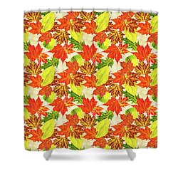 Shower Curtain featuring the mixed media Fall Leaves Pattern by Christina Rollo