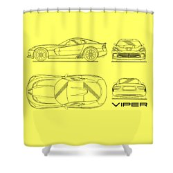 Viper Blueprint Shower Curtain by Mark Rogan