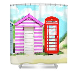 Shower Curtain featuring the mixed media The Great British Summer by Mark Tisdale