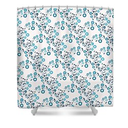 Shower Curtain featuring the digital art Delft Floral Pattern by Methune Hively