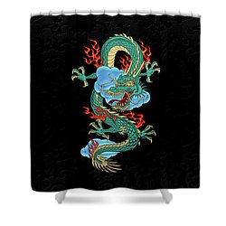 The Great Dragon Spirits - Turquoise Dragon On Black Silk Shower Curtain by Serge Averbukh