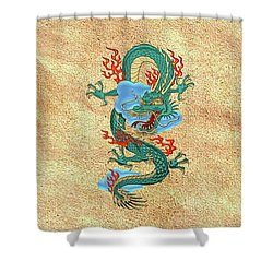The Great Dragon Spirits - Turquoise Dragon On Rice Paper Shower Curtain by Serge Averbukh