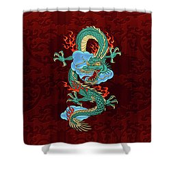 The Great Dragon Spirits - Turquoise Dragon On Red Silk Shower Curtain by Serge Averbukh