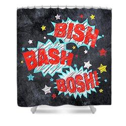 Bish Bash Bosh - Fun Chalkboard Art Shower Curtain by Mark Tisdale