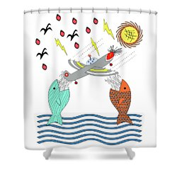 Fish Food Shower Curtain by Methune Hively