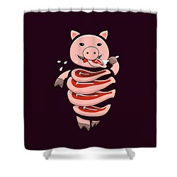 Gluttonous Self-eating Pig Shower Curtain