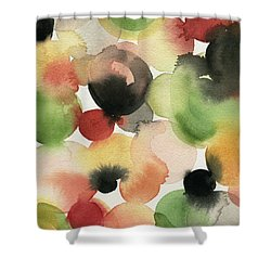 Yellow Green Orange Black Abstract Watercolor Shower Curtain