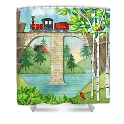T Is For Train And Train Trestle Shower Curtain