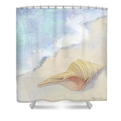 Shower Curtain featuring the painting Dance Of The Sea - Australian Trumpet Shell Impressionstic by Audrey Jeanne Roberts