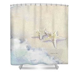 Shower Curtain featuring the painting Dance Of The Sea - Knobby Starfish Impressionstic by Audrey Jeanne Roberts