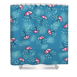 Fun Raining Umbrella Pattern Shower Curtain