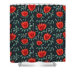Dark Floral Pattern Of Abstract Red Tulips Shower Curtain